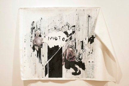 Gareth Nyandoro, Pfuuuuuuu (Blowing), 2015, mixed media on paper mounted on canvas, 120 x 260 cm. Courtesty of the artist and Tiwani Contemporary © Sylvain Deleu